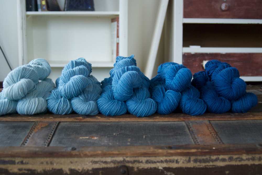 Indigo dyed Straw's Farm Island Sheep Gansey yarn   Available at the Netloft