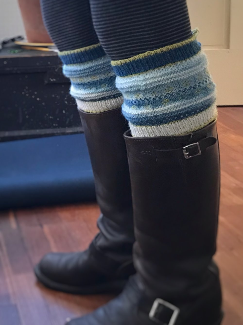 Toppers for tall boots, in Sea mini skeins