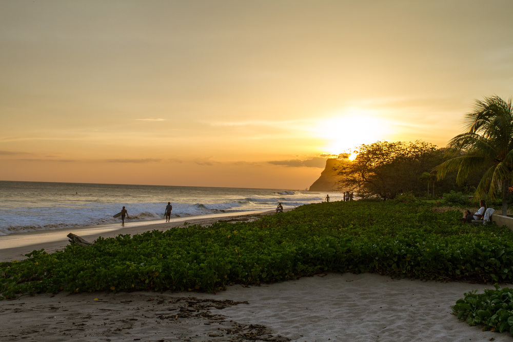 The sun setting after a long day of flawless surf.