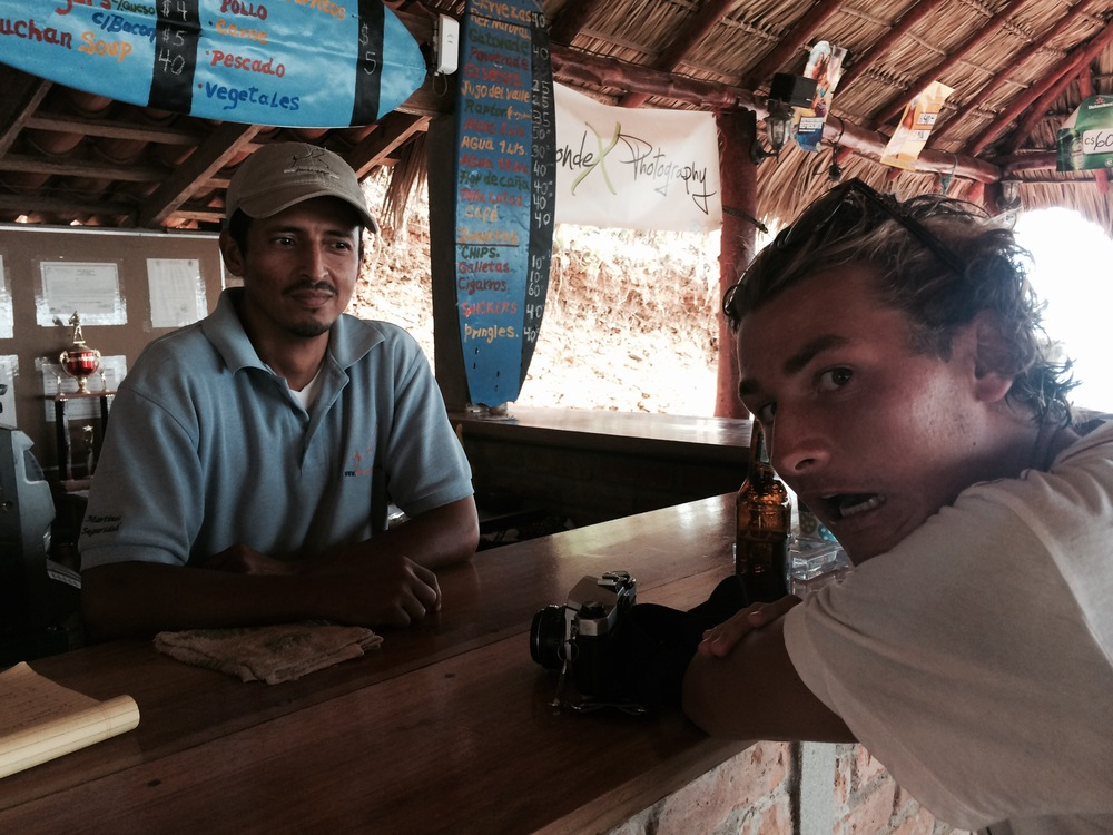 Colin Moran at the Popoyo Bar.In Nica with Bobby,Andrew, Matt, and Kyle filming some surf.
