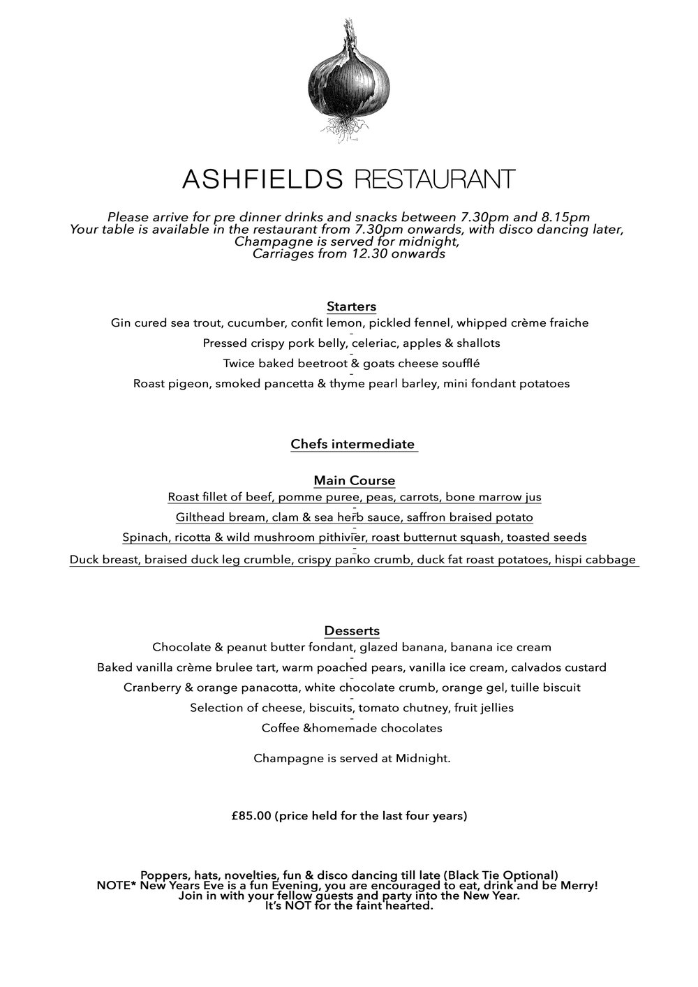 New Year\'s Eve — Ashfields Restaurant