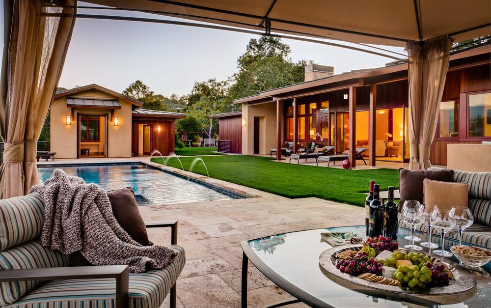 Poolside Seating, Portola Valley, CA, Dusk Photographed for RKI Interior Design, CJW Architecture and Demattei Construction