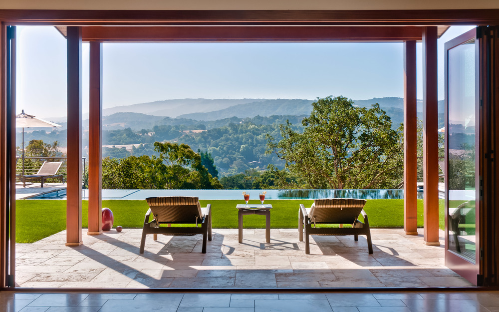 Patio with View, Portola Valley, CA Photographed for RKI Interior Design, CJW Architecture and Demattei Construction