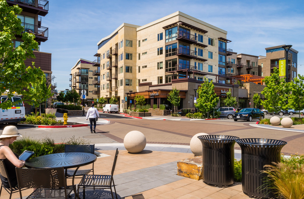 Mixed Use  |  Streetside Seating to Residential Tower 1 |  The Village at San Antonio | Mountain View, CA for Ankrom Moisan Architects