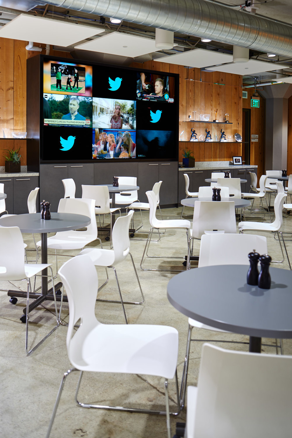 Copyright 2015 Dean J. Birinyi, ASMP Nine screen video wall in the break room in the San Francisco office of Twitter created for Crestron Electronics