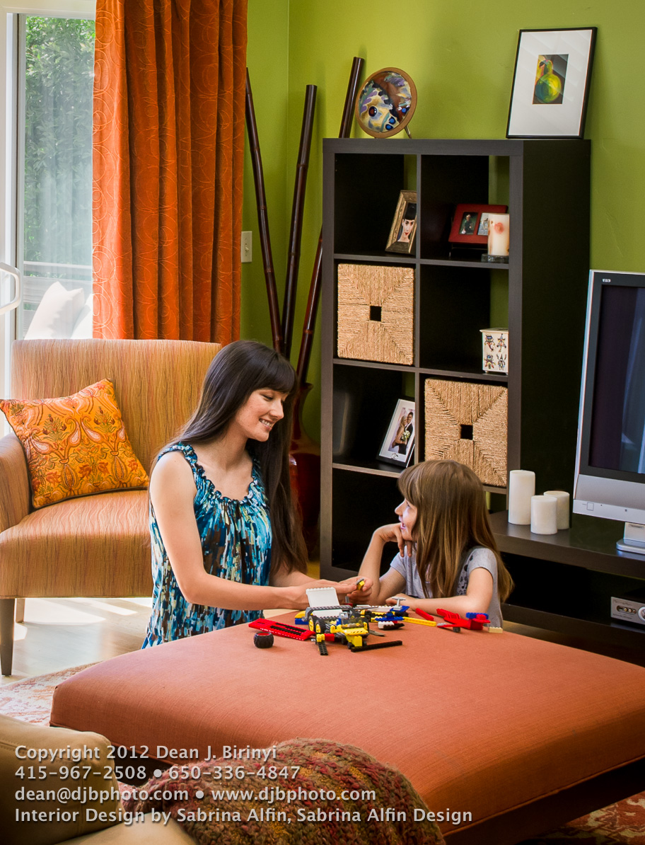 Color lifestyle image of residential interior deisgn with a mother and daughter sharing quality time.