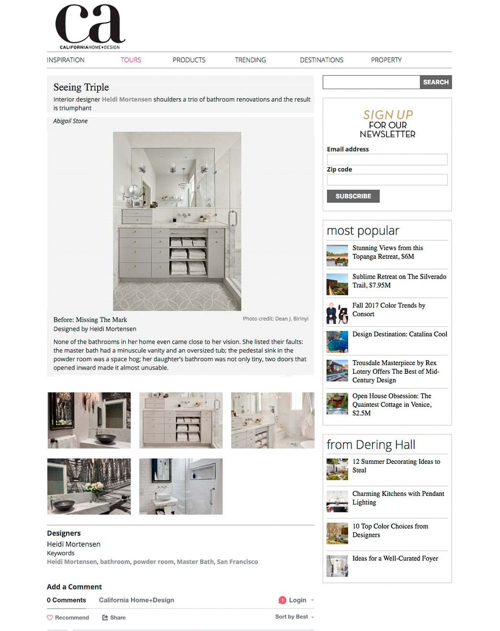 Heidi Mortensen - Published in California Home and Design Online
