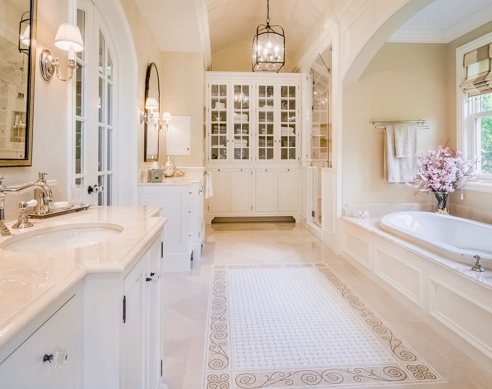 Beautiful, traditional, feminine master bathroom in Los Altos, CA filled with warm and comforting light. Photograph by Dean Birinyi, an interior photographer based in San Francisco, CA.