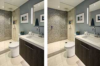 Two views of a contemporary bathroom in the Glen Park neighborhood of San Francisco, CA showing side by side comparison of retouching to remove reflections in shower stall glass.  Photograph by Dean Birinyi, an interior photographer based in San Francisco, CA.