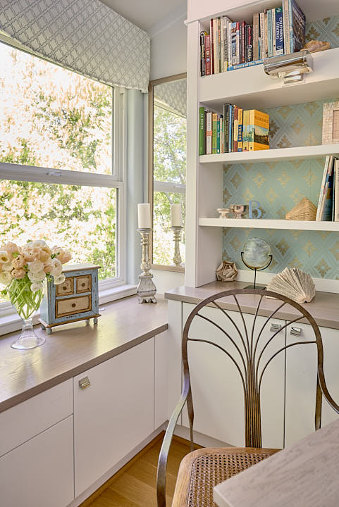 A woman's home office in Lafayette, CA.  Photographed by Dean Birinyi, interior photographer in San Francisco, CA.
