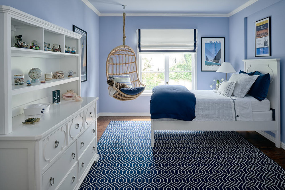 Styled and lit Dark Blue bedroom in the Russian Hill neighborhood of San Francisco, Ca by interior photographer Dean Birinyi