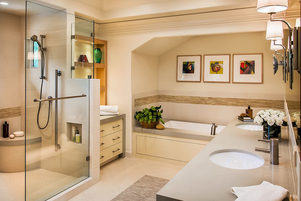 Elegant master bathroom in Los Altos, CA.  Photographed by Dean Birinyi, interior photographer in San Francisco, CA.