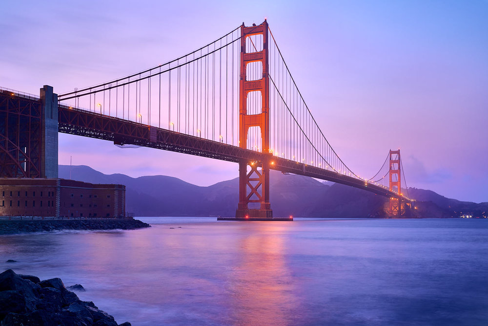 Professional Photo of the Golden Gate Bridge at Sunset