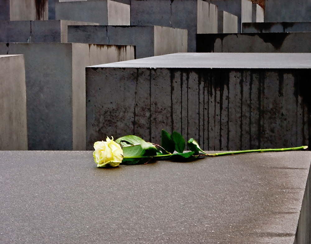 Holocaust Memorial - When we arrived, we found a rose that had been left by someone.
