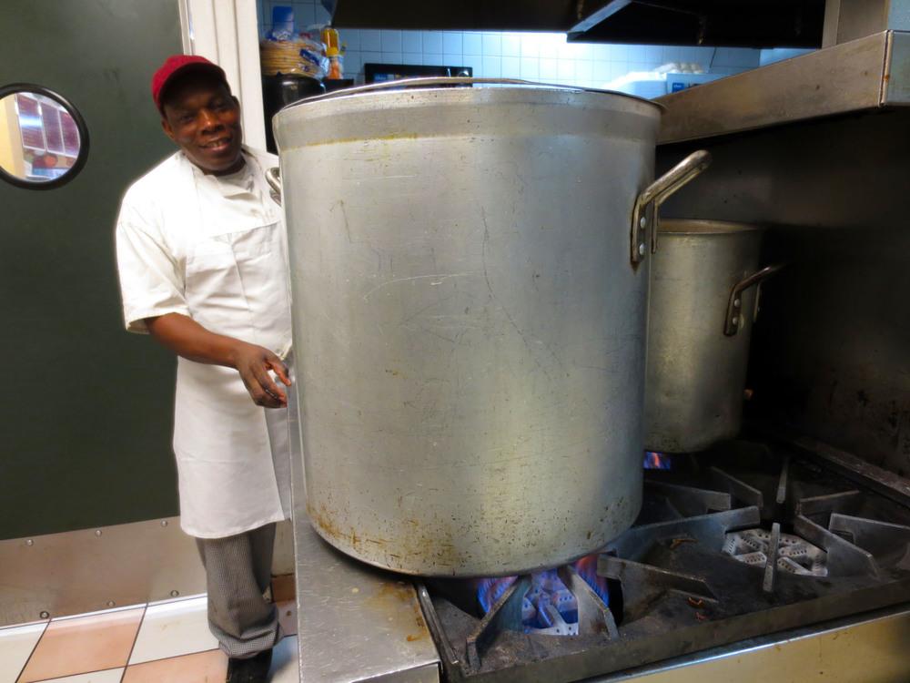 25-year veteran Chef Gerard Francois monitors the matzo ball soup