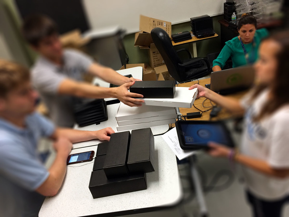 Nearly 600 tablets were distributed to 9th graders in September