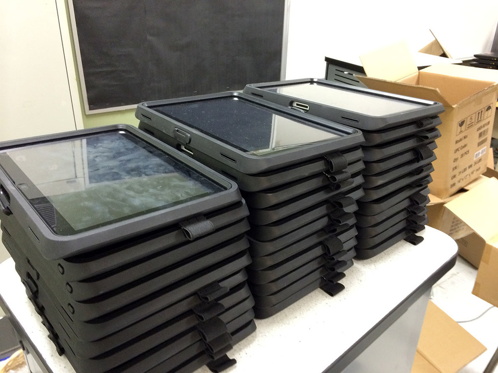 Stacked and ready tablets ready to replace books in student backpacks