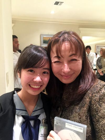Nana with Palmetto Senior High School Japanese language teacher Mieko Avello