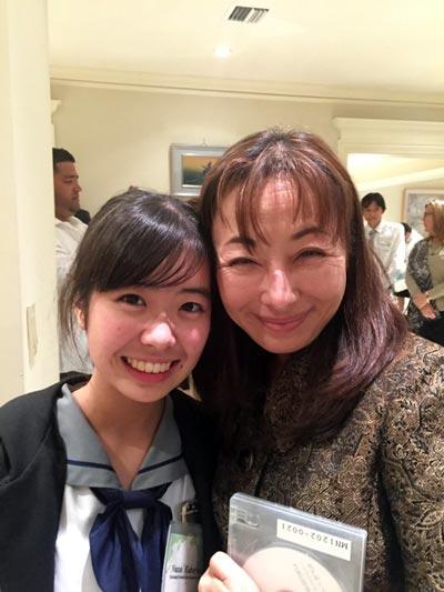 Nana with Palmetto Senior High School Japanese language teacher Mieko Avello