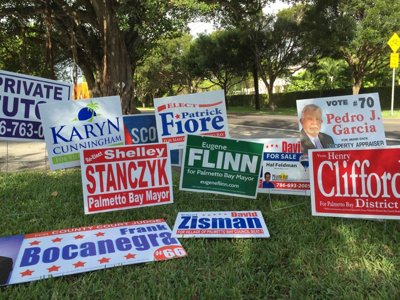 Outside polling location the day following the election... my sign was placed temporarily among them for comparison.
