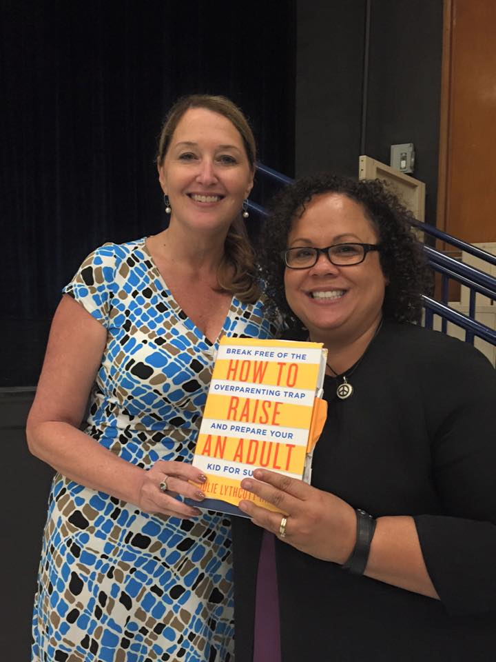 Principal Victoria Dobbs with author Julie Lythcott-Haims