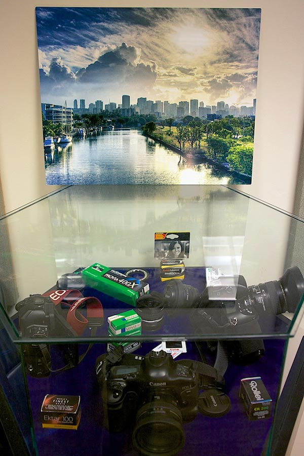 Display contains just some of the tools of the trade. Miami Morning photo above.