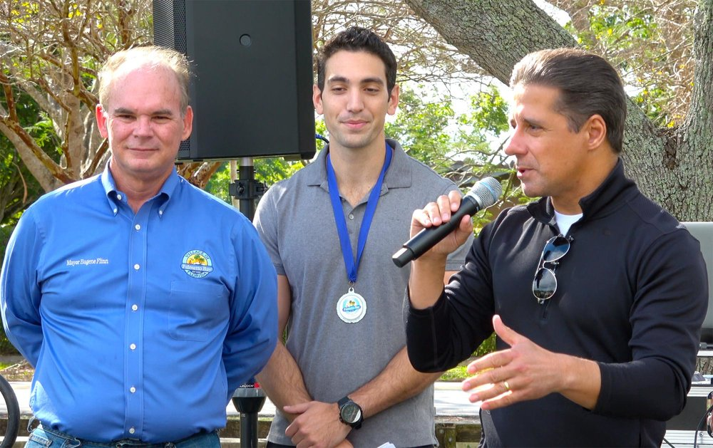 Miami-Dade School Superintendent Alberto Carvalho on right, with Mayor Eugene Flinn and CBS4's Mike Cugno