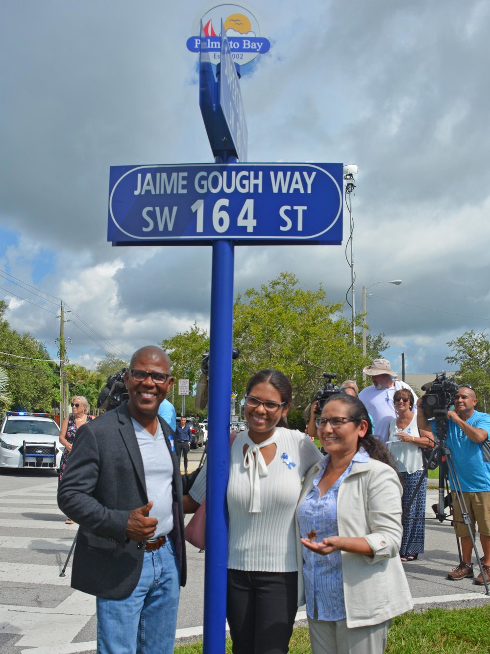 Jaime's family under the sign includes his father Jorge, mother Maria and sister, Brenda