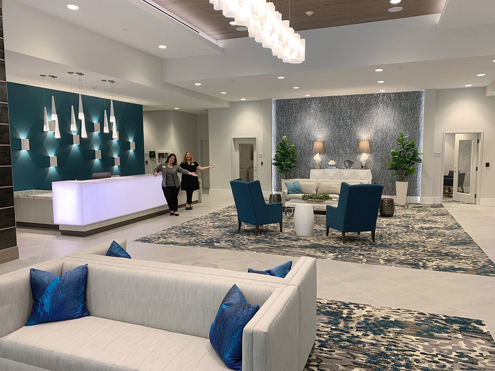 Berta and Patty show off the contemporary welcome lobby