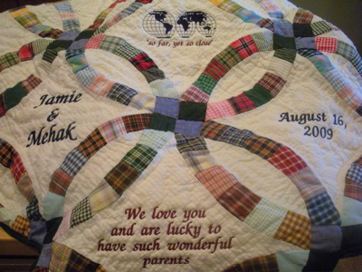 PERSONALIZED GREEN DOUBLE WEDDING RING QUILT