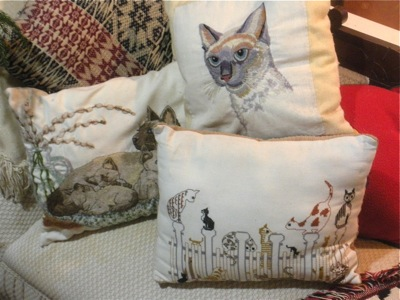 MY MOTHER'S EMBROIDERED CAT THROW PILLOWS