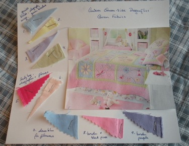 SAMPLE  QUILT DESIGN AND FABRICS CARD