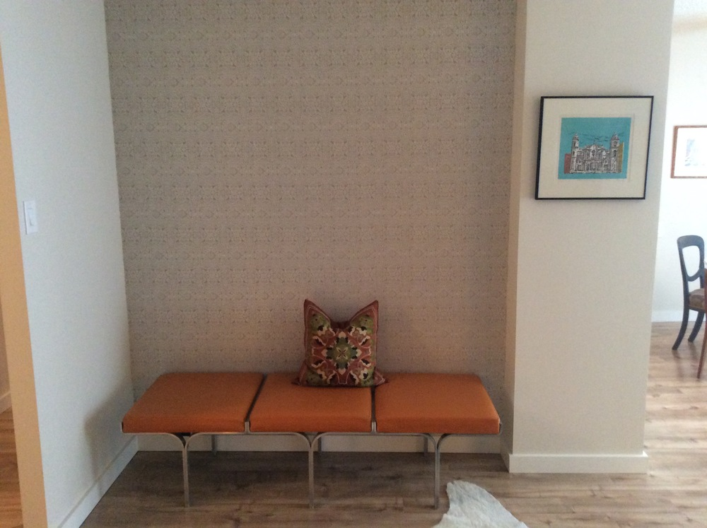 Moroccan wallpaper, vintage 60's Montreal bench.