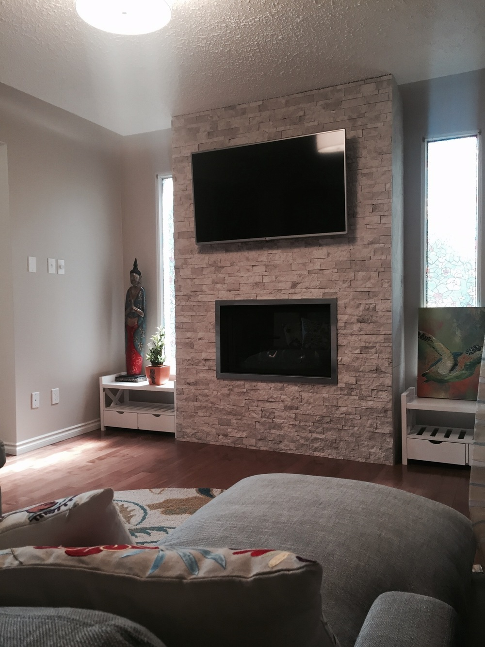 Custom fireplace, split faced stone.