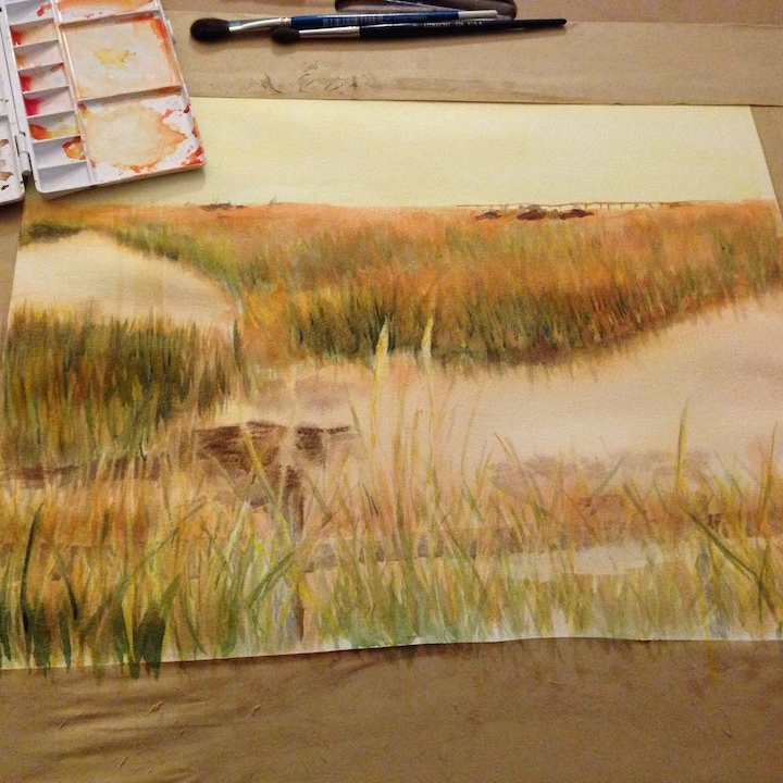Hamptons Marsh Watercolor