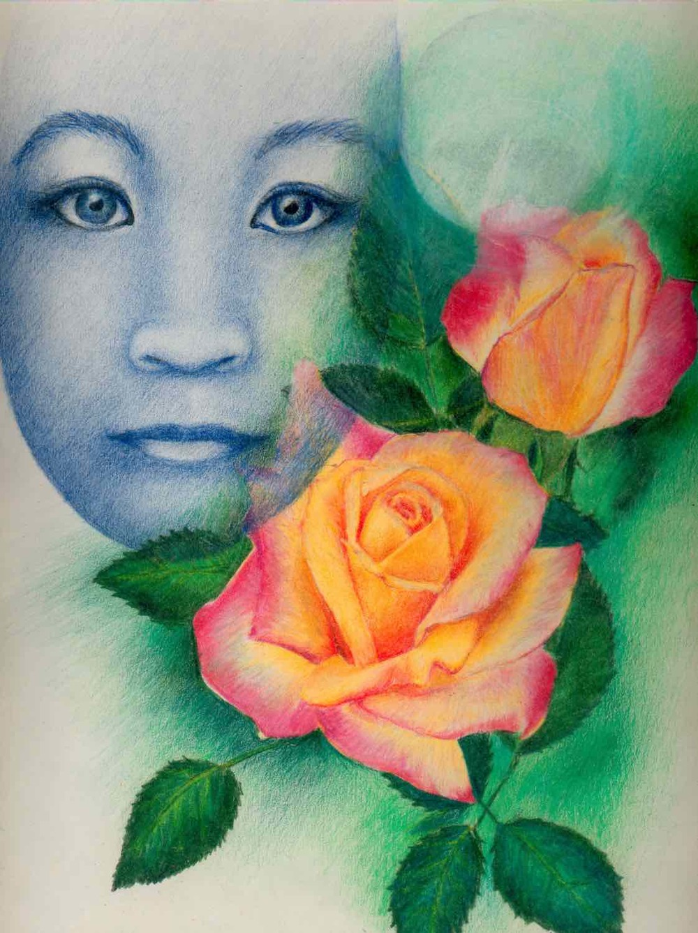 Face and Rose Colored Pencil