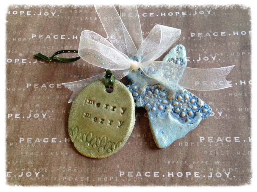 Stamped clay DIY Christmas ornaments.