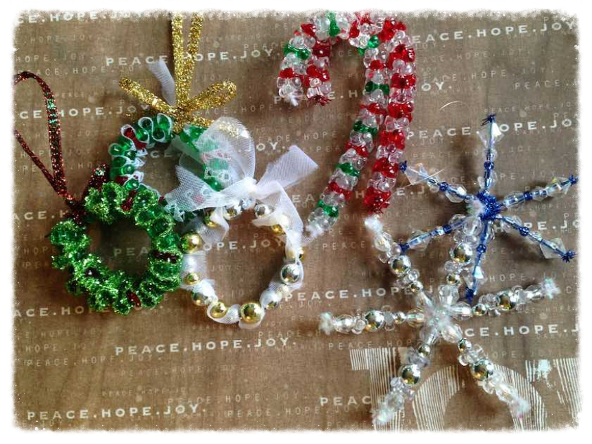 Beaded DIY Christmas ornaments: wreath, candy cane, and snowflake