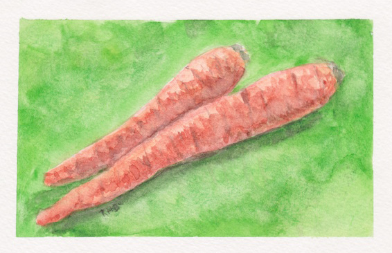 Carrots Watercolor by Rachel Blackmon