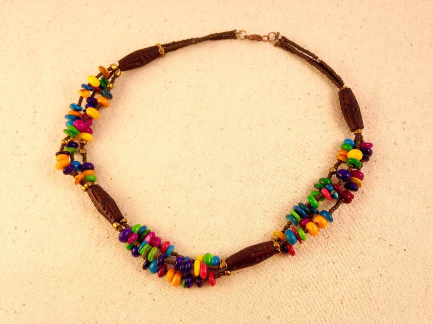 Wood and Colored Shell Chip Necklace.jpg