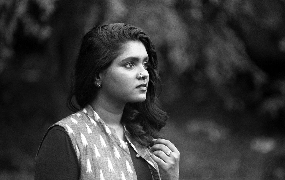 Archana Aarthi  - Fashion Stylist & Designer  Film: Kodak TMax 400 Camera: Pentax K1000 Lens: SMC 135mm f/2.8
