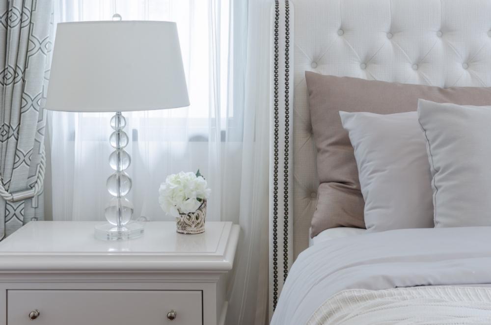 white luxe bedroom