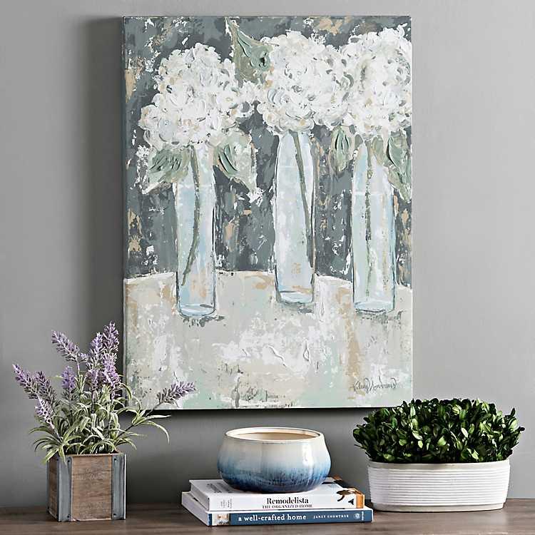 Art by Kelsey Andrews for Kirkland's | Hydrangea Vase Trio Canvas Art Print