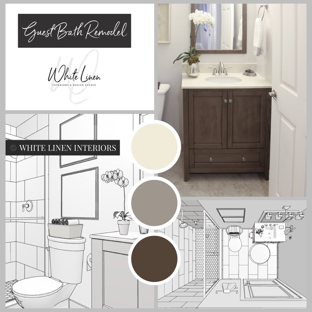 "Guest Bathroom Design - White Linen Interiors provides in-home or showroom consultations in the Miami South Florida area. From color consults to full service Interior decorating and design to home remodels. At White Linen Interiors, will strive to create beautiful, warm and inviting spaces that ""reflect your personal taste and style while staying on budget.""Need help visualizing your bathroom remodel project before you begin? We provide 3D digital renderings. Visit our shop to learn more about our Drawing Package."
