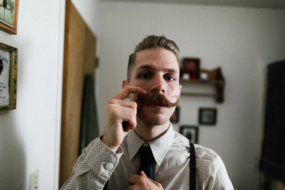 Hipster Groom Getting Ready