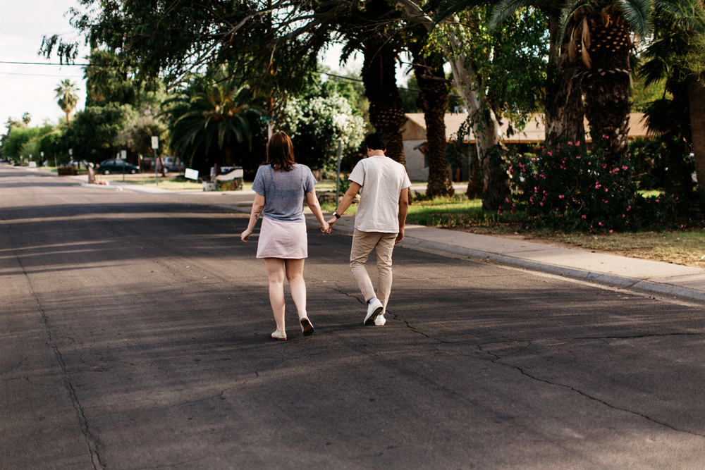 cute couple walking in Phoenix