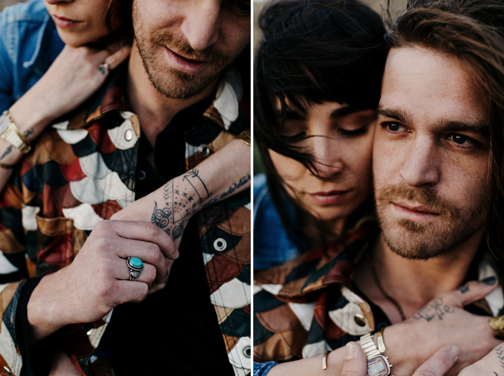 desert engagement session, bohemian couple, portrait, southwest,