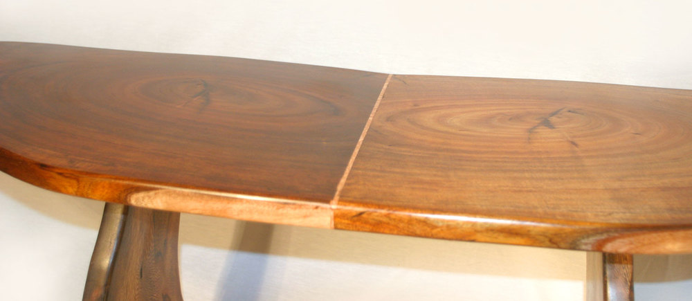Koa wood table with dividing inlay