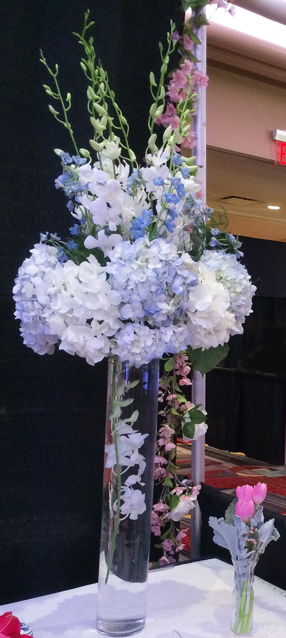 Evelisa Floral & Design's Tall Blue & White arrangement