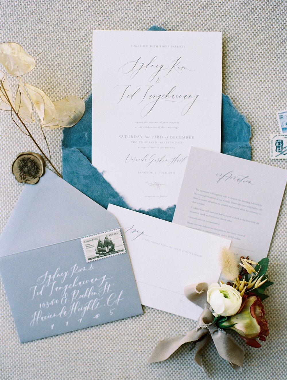 custom made calligraphy wedding invitation